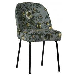 Hoorns Šedá sametová židle Tergi s květinovým vzorem