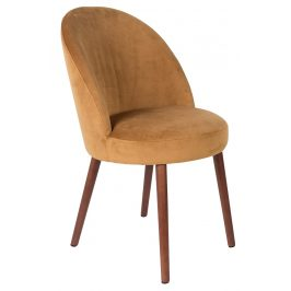 Žlutá sametová židle DUTCHBONE Barbara