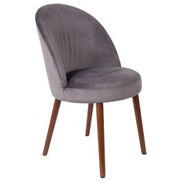 Šedá sametová židle DUTCHBONE Barbara