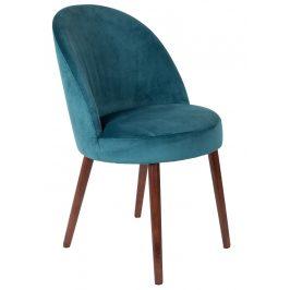 Modrá sametová židle DUTCHBONE Barbara