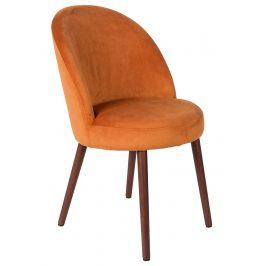 Oranžová sametová židle DUTCHBONE Barbara