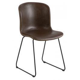 SCANDI Tmavě hnědá jídelní židle Mantra z ekokůže