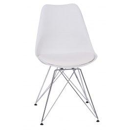 Culty Bílá plastová židle DSR s čalouněným sedákem