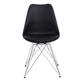Culty Černá plastová židle DSR s čalouněným sedákem
