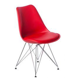 Culty Červená plastová židle DSR s čalouněným sedákem
