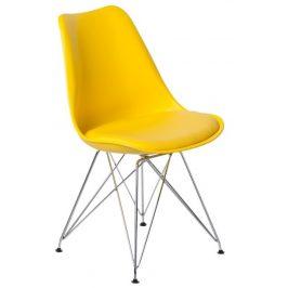 Culty Žlutá jídelní židle DSR s čalouněným sedákem