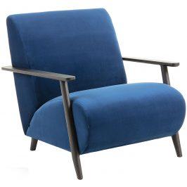 Tmavě modré sametové křeslo LaForma Marthan