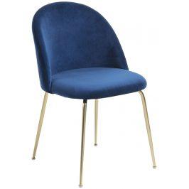 Modrá čalouněná jídelní židle LaForma Mystere se zlatou podnoží