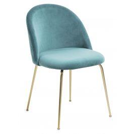 Zelená čalouněná jídelní židle LaForma Mystere se zlatou podnoží