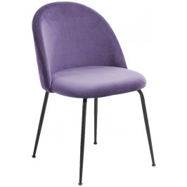 Fialová čalouněná jídelní židle LaForma Mystere s černou podnoží