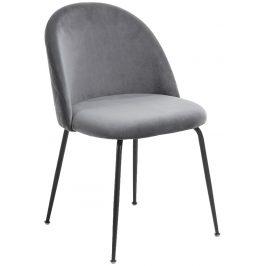 Šedá čalouněná jídelní židle LaForma Mystere s černou podnoží