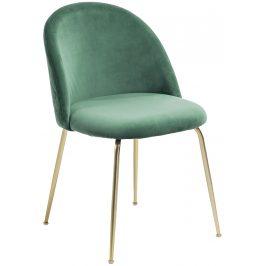 Tmavě zelená čalouněná jídelní židle LaForma Mystere se zlatou podnoží