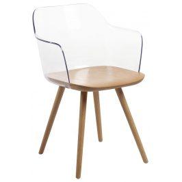 Transparentní plastová jídelní židle LaForma Klam s bukovou podnoží