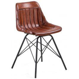 Hnědá kožená jídelní židle LaForma Tribu
