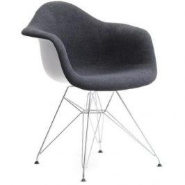 Design Project Bílá plastová židle DAR s černým čalouněním