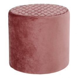 Růžový sametový taburet Nordic Living Flam Taburety do obýváku