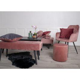 Růžový sametový taburet Nordic Living Flam