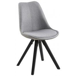 SCANDI Světle šedá čalouněná jídelní židle Damian s černou podnoží