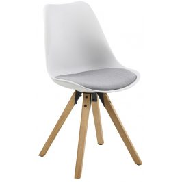 SCANDI Bílá plastová jídelní židle Damian s šedým sedákem