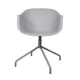 Culty Světle šedá otočná plastová židle Duke