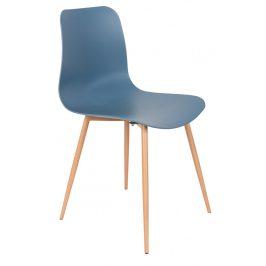 White Label Living Modrá plastová jídelní židle WLL LEON