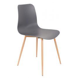 White Label Living Tmavě šedá plastová jídelní židle WLL LEON