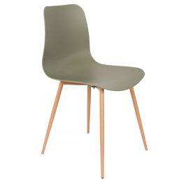 White Label Living Zelená plastová jídelní židle WLL LEON