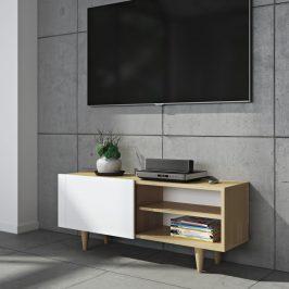 Porto Deco Bílý dubový TV stolek Danne 120 x 34 cm