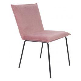 White Label Living Růžová sametová jídelní židle WLL FLOKE
