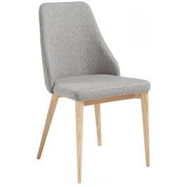 Světla šedá čalouněná jídelní židle LaForma Roxie s přírodní podnoží