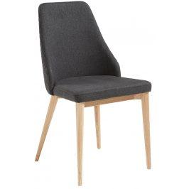 Tmavě šedá čalouněná jídelní židle LaForma Roxie s přírodní podnoží