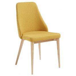 Žlutá čalouněná jídelní židle LaForma Roxie s přírodní podnoží