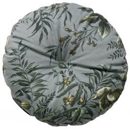 Hoorns Šedý kulatý polštář Tergi s květinovým vzorem