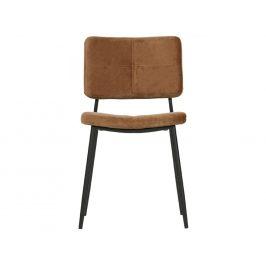 Hoorns Karamelová hnědá sametová jídelní židle Kay