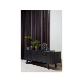 Hoorns Černý borovicový TV stolek Bullet 150x44 cm