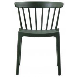 Hoorns Tmavě zelená plastová jídelní židle Marbel