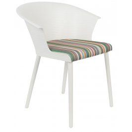White Label Living Bílá plastová jídelní židle s područkami WLL OLIVIA