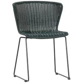 Hoorns Zelená vyplétaná židle Leon
