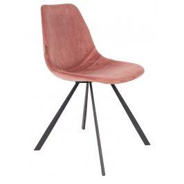 Růžová sametová jídelní židle DUTCHBONE Franky