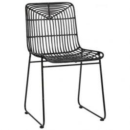 Černá ratanová židle Hübsch Arpy