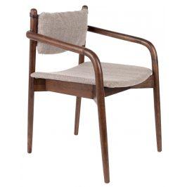 Hnědá dřevěná jídelní židle DUTCHBONE TORRANCE s područkami