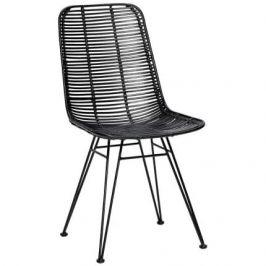 Černá ratanová židle Hübsch Kara