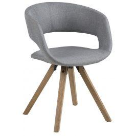 SCANDI Světle šedá látková jídelní židle Garry