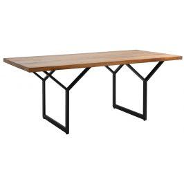 Nordic Design Přírodní masivní jídelní stůl Porto 180x90 cm s černou podnoží