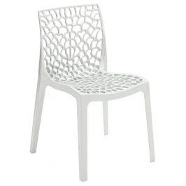 SitBe Bílá plastová jídelní židle Coral-C