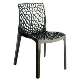 SitBe Antracitová plastová jídelní židle Coral-C
