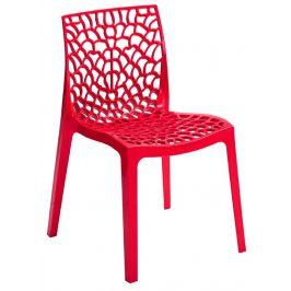 SitBe Červená plastová jídelní židle Coral-C