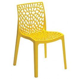SitBe Žlutá plastová jídelní židle Coral-C