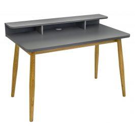 Šedý dubový pracovní stůl Woodman Farsta 120x55 cm