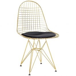 Culty Gold Zlatá kovová židle DKR s černým podsedákem z ekokůže